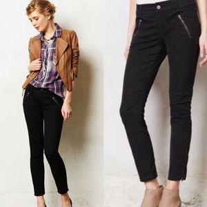 Anthropologie Pilcro Serif Black Moto Zip Jeans